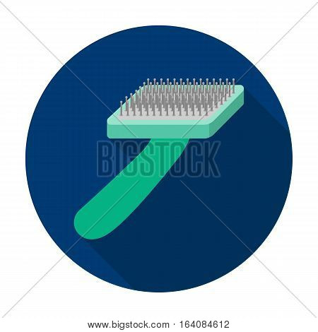 Brush for animal fur icon in flat design isolated on white background. Veterinary clinic symbol stock vector illustration.