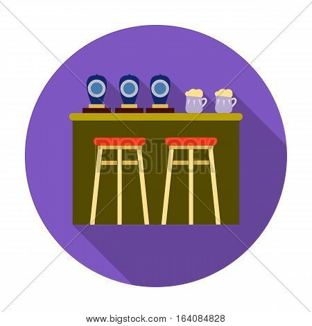 Bar icon in flat design isolated on white background. Pub symbol stock vector illustration.