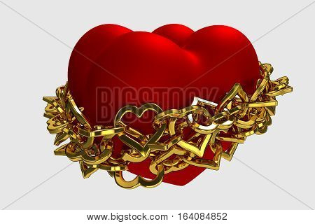 rendered two red hearts wrapped golden chain, 3d rendering