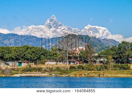 Annapurna mountain. View from Phewa Lake. Pokhara Nepal.