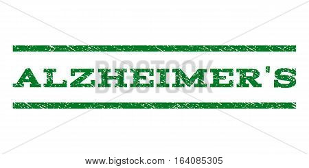 Alzheimer'S watermark stamp. Text caption between horizontal parallel lines with grunge design style. Rubber seal green stamp with unclean texture. Vector ink imprint on a white background.