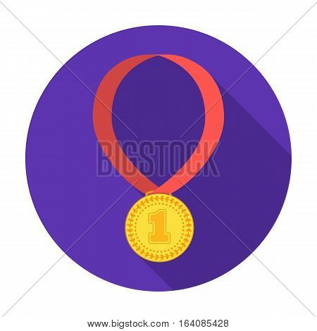 Gold medal for equestrian sport icon in flat design isolated on white background. Hippodrome and horse symbol stock vector illustration.