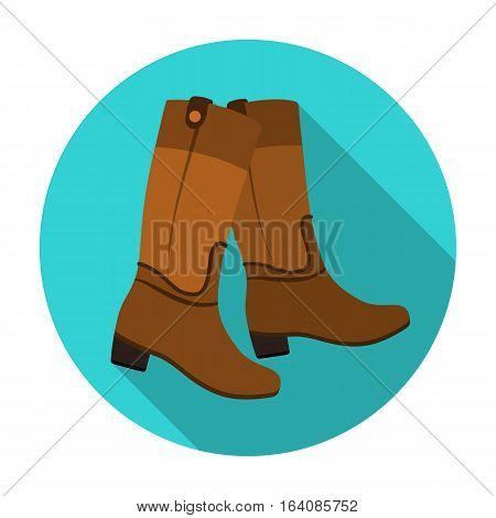 Jockey's high boots icon in flat design isolated on white background. Hippodrome and horse symbol stock vector illustration.