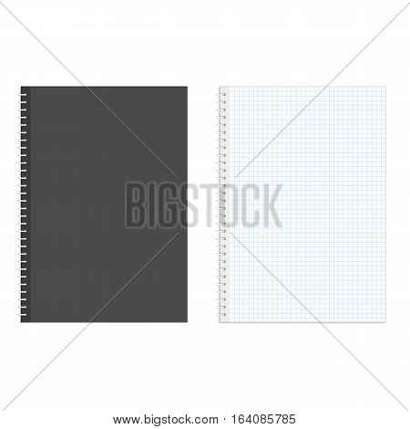 Blank realistic spiral squared notebook mockup isolated on white background. Notebook mock up, with place for your image, text or corporate identity details.