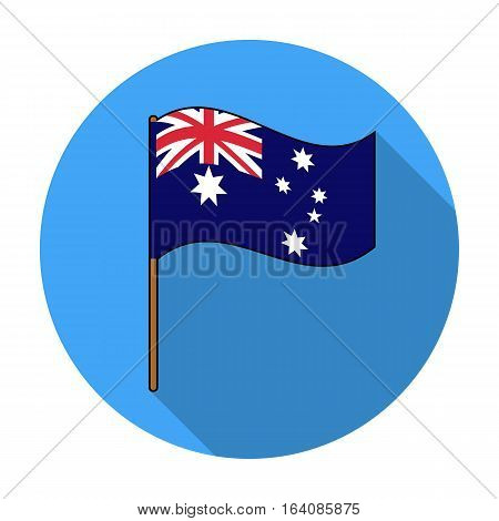 Australian flag icon in flat design isolated on white background. Australia symbol stock vector illustration.