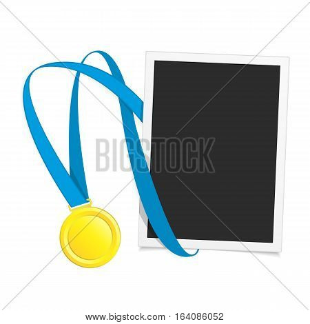 Vector photo frame template with medal competition winner. Photo frame to win the competition. Gold medal on isolated background photo frames.