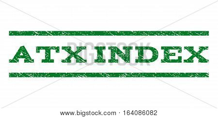 Atx Index watermark stamp. Text tag between horizontal parallel lines with grunge design style. Rubber seal green stamp with dirty texture. Vector ink imprint on a white background.