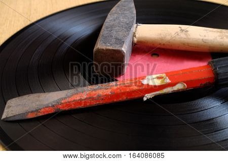 old vinyl and tools for repair its