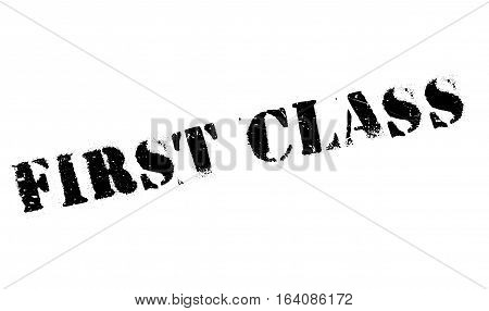 First Class rubber stamp. Grunge design with dust scratches. Effects can be easily removed for a clean, crisp look. Color is easily changed.