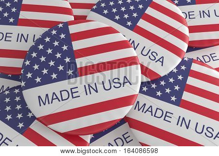 Made In USA: Pile of US Flag Buttons 3d illustration