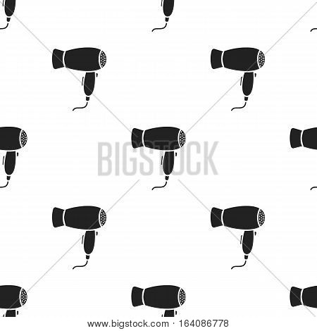Hair dryer icon in black style isolated on white background. Hairdressery pattern vector illustration.