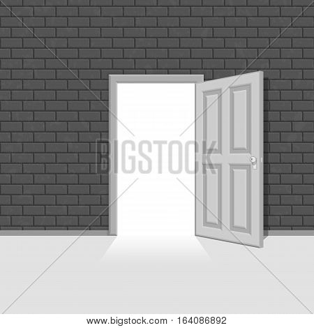 Light open door in vintage brick wall. Concept the exit from a difficult situation. Vector illustration EPS10.