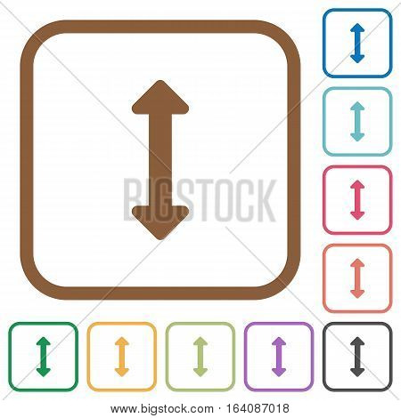 Resize vertical simple icons in color rounded square frames on white background