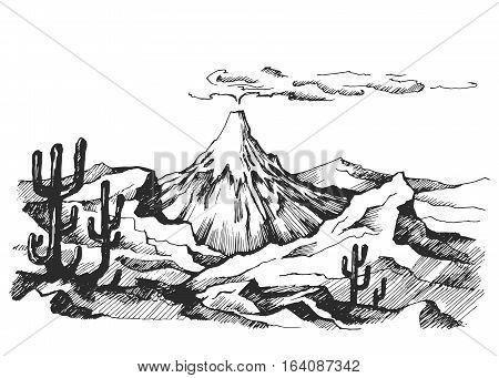 Vector sketch landscape volcanic eruption. Cacti and rocks. Mexico. Stock Illustration.