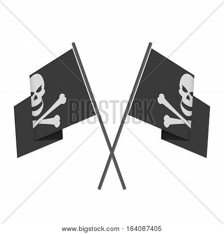 Two crossed pirate flag with skull on isolated white background. Waving Pirate Flag Jolly Roger in flat style.