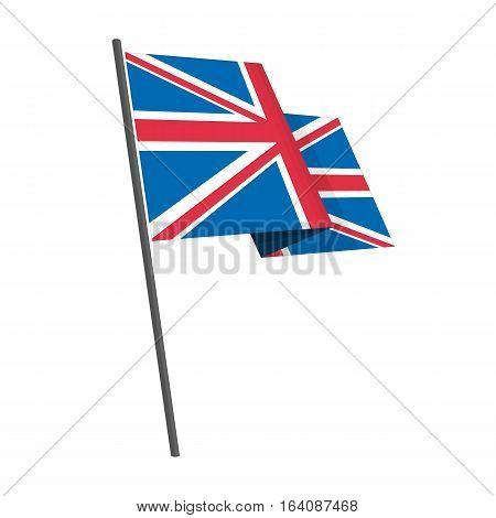 British flag national flag on isolated white background. Waving United Kingdom Flag in flat style.