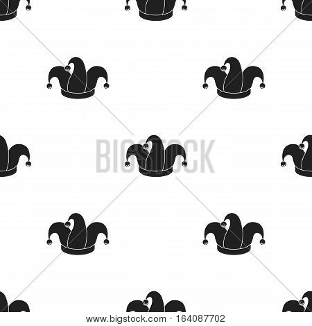 Jester's cap icon in black style isolated on white background. Hats pattern vector illustration.