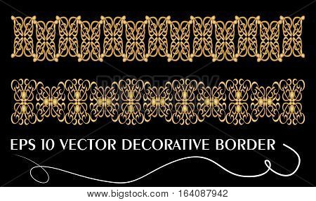 Set of art deco embossed filigree ornamental borders in golden design eps10 vector