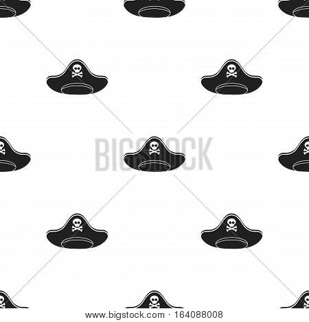 Pirate hat icon in black style isolated on white background. Hats pattern vector illustration.