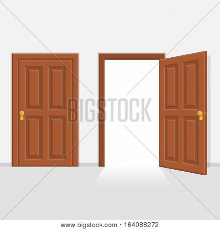 Open and closed brown wooden doors vector illustration. One door is closed and the other one is opening up to new opportunities. Realistic style.