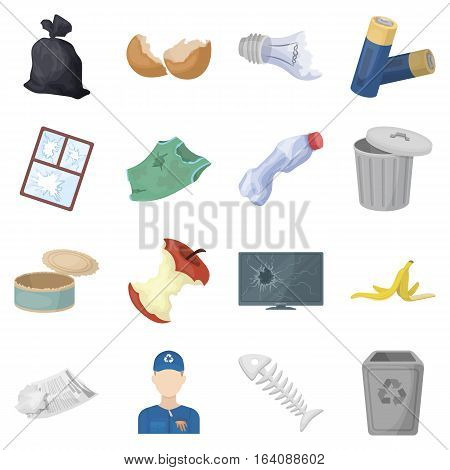Trash and garbage set icons in cartoon style. Big collection of trash and garbage vector symbol stock