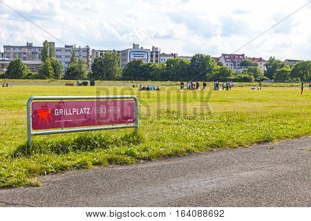 BERLIN GERMANY - JUNE 27 2014: Berlin Tempelhof former airport in Berlin city Germany. Ceased operations in 2008 and now used as a recreational space known as Tempelhofer Feld