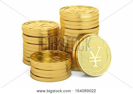 Gold yen coins 3D rendering isolated on white background