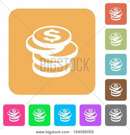 Dollar coins icons on rounded square vivid color backgrounds.
