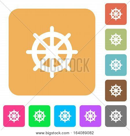 Steering wheel icons on rounded square vivid color backgrounds.