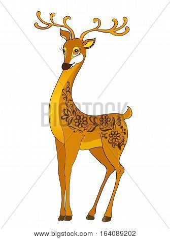 deer cartoon, with isolation on a white background