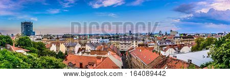 Aerial panorama of Zagreb downtown from upper part of city, european capital town and famous travel destination, Croatia Europe.