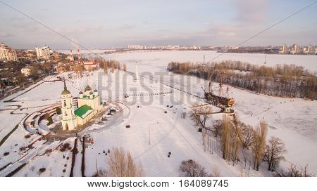 Admiralty Square and the monument to the first ship built in Russia in Voronezh at winter