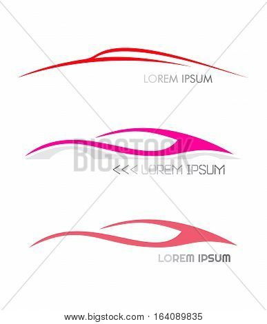 Three variants of modern car logo. Moving car images. Vector icons isolated on a white background.