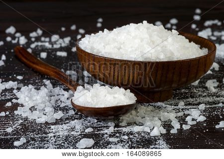 Natural Sea Salt In A Wooden Bowl