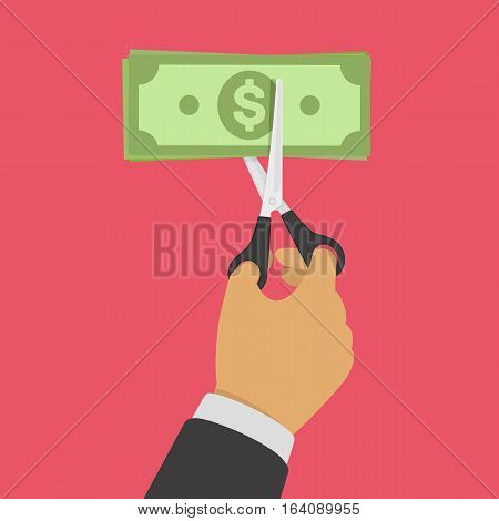 Hands holding scissors and cutting money bill. Reducing cost concept. Businessman Cutting dollar banknote. Big discount. Half price. Vector illustration in flat design isolated on red background.