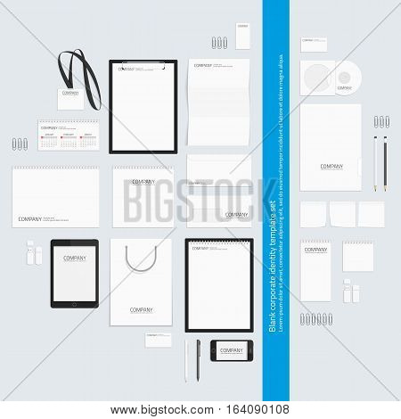 Corporate identity template set. Business stationery mock-up for presentation of your design. Branding design. Notebook, card, catalog, pen, pencil, badge, tablet, mobile phone letterhead