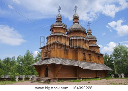 Ancient wooden cossack church at Mamai settlement (Mamaeva Sloboda) in Kiev Ukraine