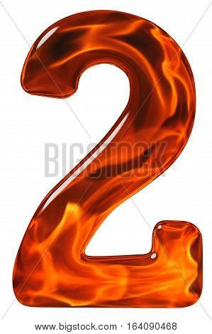 2, Two, Numeral From Glass With An Abstract Pattern Of A Flaming Fire, Isolated On White Background