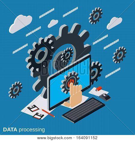 Data processing, cloud computing, network flat isometric vector concept illustration