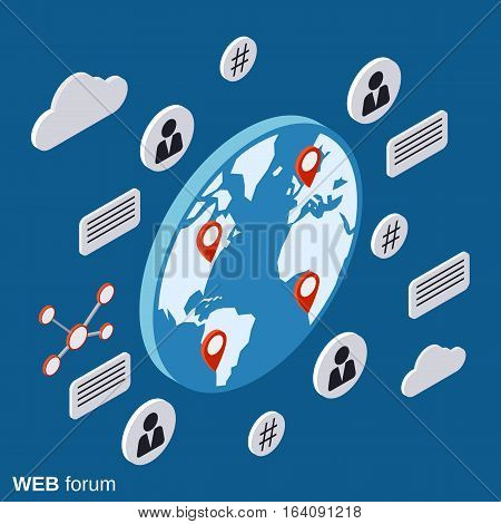 Web forum, online chat, discussion flat isometric vector concept illustration