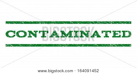 Contaminated watermark stamp. Text tag between horizontal parallel lines with grunge design style. Rubber seal green stamp with dust texture. Vector ink imprint on a white background.