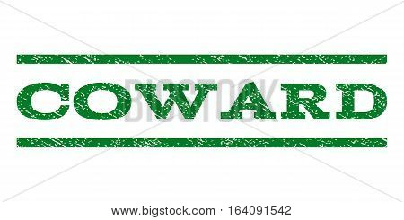 Coward watermark stamp. Text tag between horizontal parallel lines with grunge design style. Rubber seal green stamp with dirty texture. Vector ink imprint on a white background.