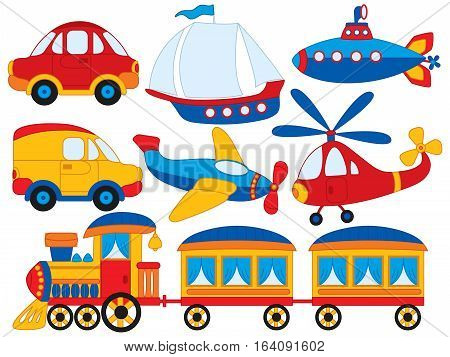 Vector transport set with car, plane, helicopter and submarine