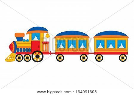 Vector steam train with wagons and wheels