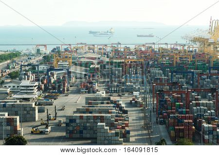 Aerial view of Laem chabang cargo container port in Thailand use for logistics import export background