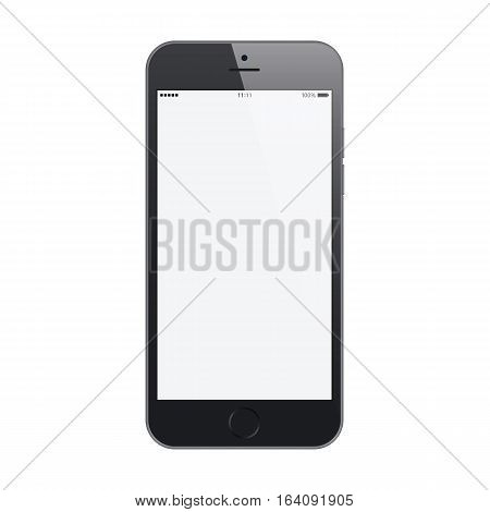 smartphone frosted black color with blank touch screen isolated on white background. stock vector illustration eps10