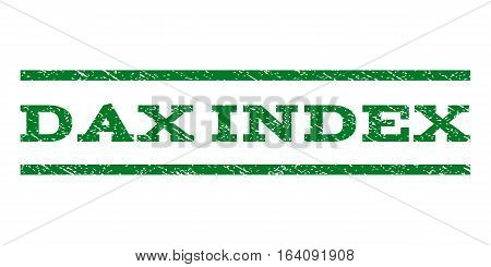 Dax Index watermark stamp. Text caption between horizontal parallel lines with grunge design style. Rubber seal green stamp with unclean texture. Vector ink imprint on a white background.