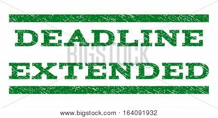 Deadline Extended watermark stamp. Text tag between horizontal parallel lines with grunge design style. Rubber seal green stamp with dust texture. Vector ink imprint on a white background.