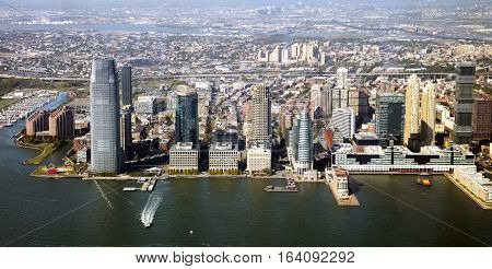 New Jersey, Jersey City panorama and river Hudson