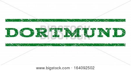 Dortmund watermark stamp. Text caption between horizontal parallel lines with grunge design style. Rubber seal green stamp with dust texture. Vector ink imprint on a white background.
